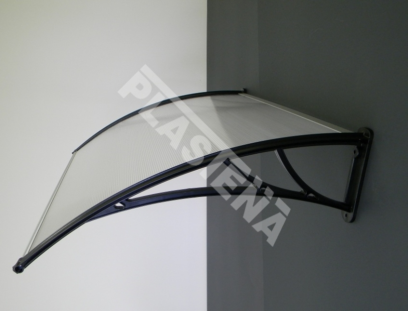 Polycarbonate canopy, door canopy, canopies over entrance doors, terraces and balconies. The construction allows to join the canopies together. In this way, the construction can be extended to a required size.