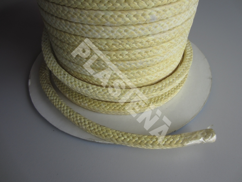 Aramid fiber packing impregnated with PTFE used for pumps in all types of industry such as chemical, petrochemical, pharmaceutical, food and sugar industries, pulp and paper mills, power stations etc.