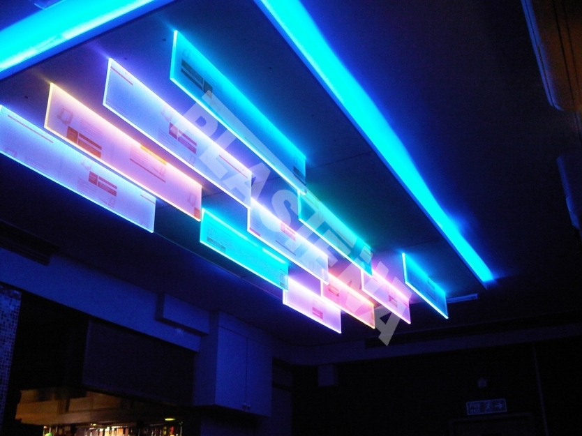 Perspex® Spectrum LED - acrylic sheet with optimised colour performance. Ideal material for any illuminated application including point of purchase, directional systems, interior designs and architectural pieces.