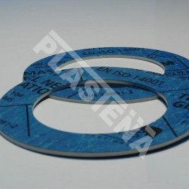 Gaskets made of non-asbestous synthetic fibre jointing sheets. Used for sealing of stationary and demountable joints in various media: water, steam, gas, oil products, salt solutions, nitrogen, acids etc.