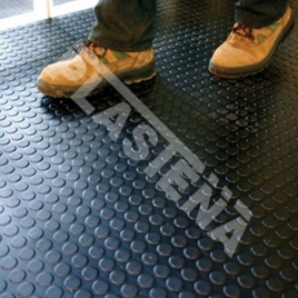 This non-slip rubber flooring designed for commercial or vehicles premises for temporary use (e. g., changing premises), for fitting in slippery flooring, tracks.